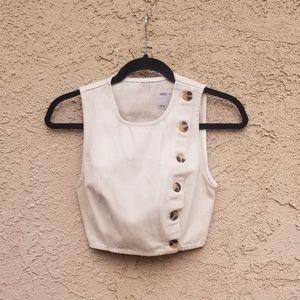 ASOS Denim Sleeveless Side Button Shirt